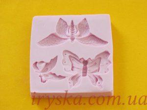 Молд Метелики ( 3 шт, рожевий фон)