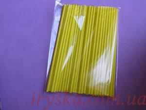 Палички для кейк-попсів жовті 100шт.
