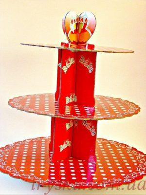 Підставка картонна 3 яруси (червона)