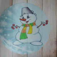 """Вафельний декор """"Сніговик веселий"""""""