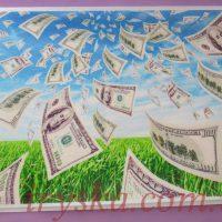 Вафельний декор Долари 1