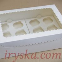 Коробка для 12 кексів, капкейків, маффінів з прозорим вікном.