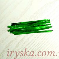 Фольгорована стрічка для упаковки кейк-попсів зелена, 50 шт