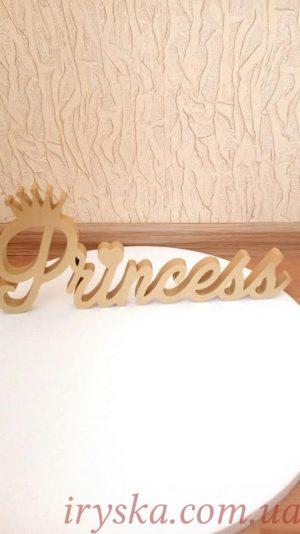 Надпис princess золото пінопласт