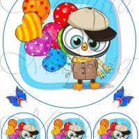 Вафельний декор Сова з кульками