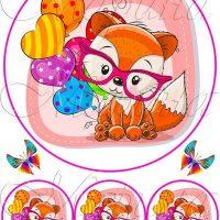 Вафельний декор Лисичка з кульками