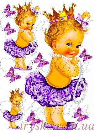 Вафельний декор Бейбік в спідничці (фіолет)