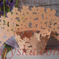 Обгортки на капкейки квіти персик 20шт