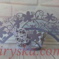 Обгортки на капкейки фіолетові квіти 20шт