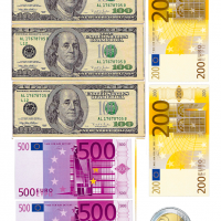 Вафельний декор Долари та євро